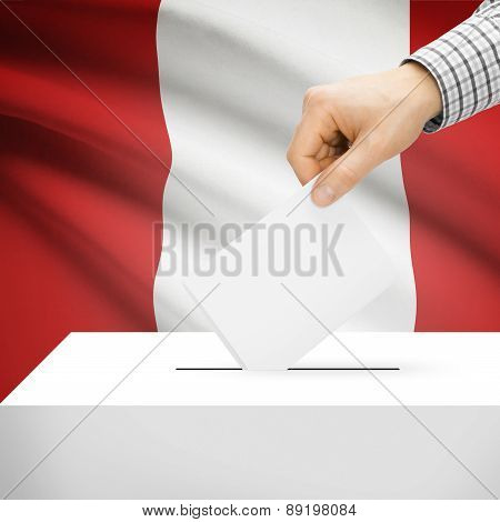 Voting Concept - Ballot Box With National Flag On Background - Peru