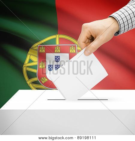 Voting Concept - Ballot Box With National Flag On Background - Portugal