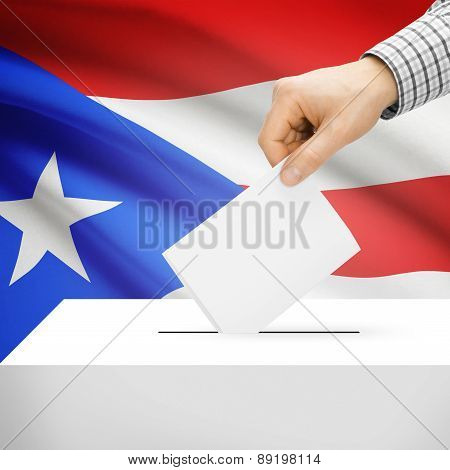 Voting Concept - Ballot Box With National Flag On Background - Puerto Rico