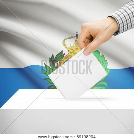 Voting Concept - Ballot Box With National Flag On Background - San Marino