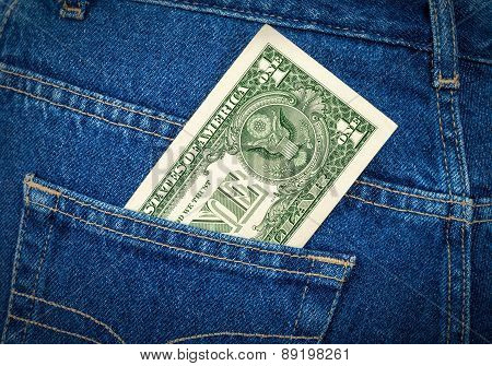 Banknote Of One American Dollar In The Back Jeans Pocket