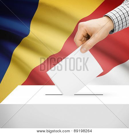 Voting Concept - Ballot Box With National Flag On Background - Seychelles