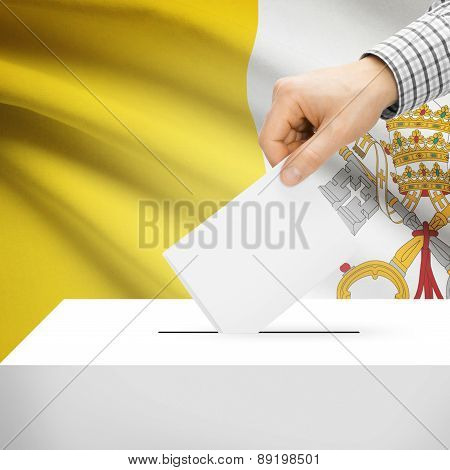 Voting Concept - Ballot Box With National Flag On Background - Vatican City State