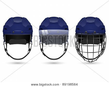 Dark blue hockey helmet in three varieties