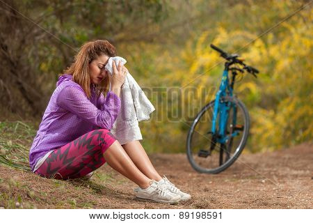 Young Girl With Bicycle Outdoor
