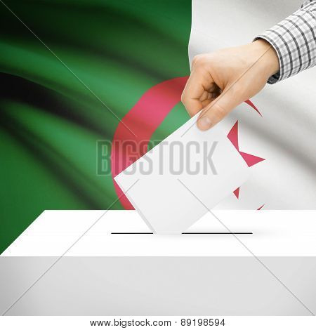 Voting Concept - Ballot Box With National Flag On Background - Algeria