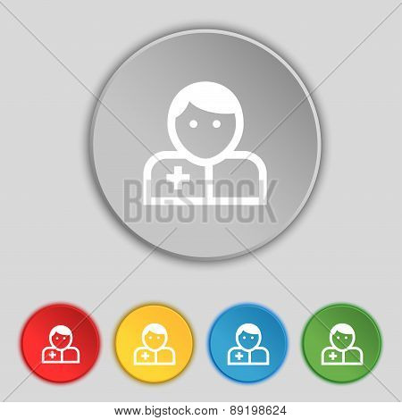 Doctor Icon Sign. Symbol On Five Flat Buttons. Vector