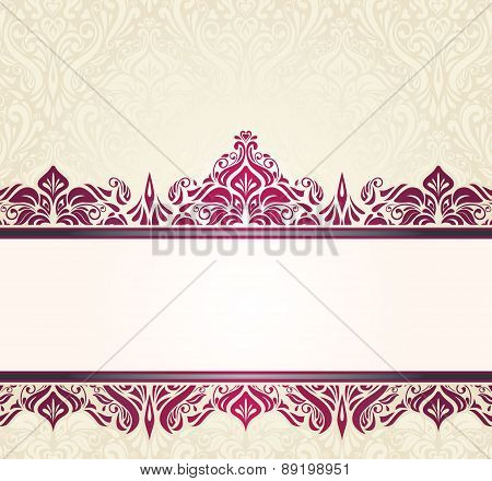 Ecru pale vintage invitation design with red ornaments