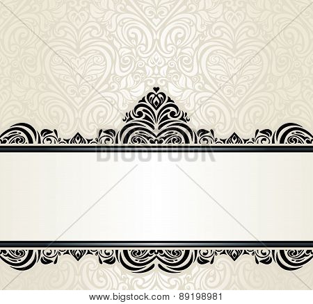 Wedding vintage Ecru invitation design background