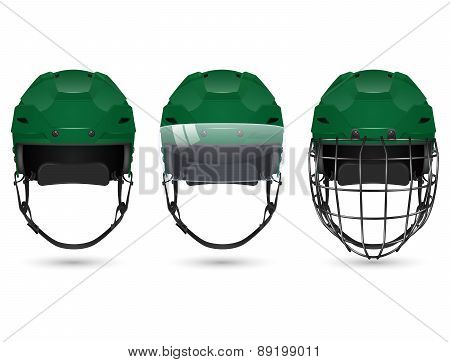 Green hockey helmet in three varieties