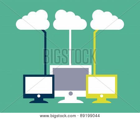 cloud computing over  green  background vector illustration