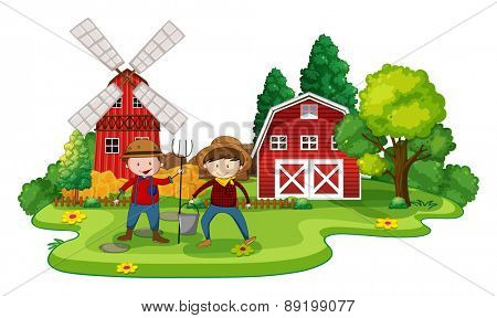 Farmers working in a farm at day time
