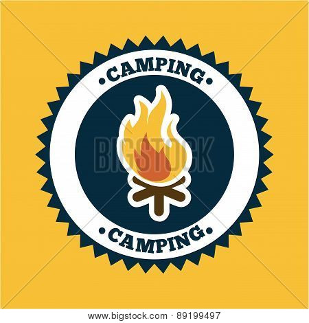 camping design over orange background vector illustration