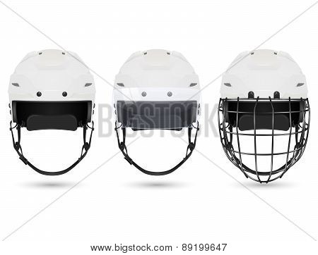 White hockey helmet in three varieties