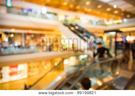 Blur Background Photograph Of People In The Department Store Building With Huge Escalator