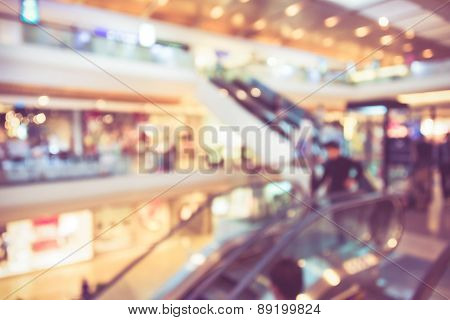 Blur Background Photograph Of People In The Department Store Building With Huge Escalator In Retro C
