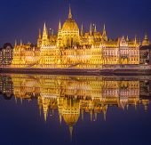 picture of hungarian  - View of hungarian Parliament building at night in Budapest - JPG