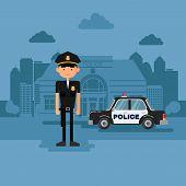 stock photo of policeman  - Concept policeman at work - JPG