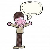 foto of squid  - cartoon alien squid face man with speech bubble - JPG