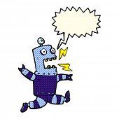 foto of terrifying  - cartoon terrified robot with speech bubble - JPG