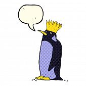 picture of emperor  - cartoon emperor penguin waving with speech bubble - JPG