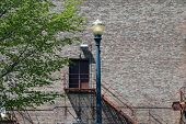 picture of illinois  - A lamppost in front of a back exit door of the Rialto Theater in Joliet - JPG