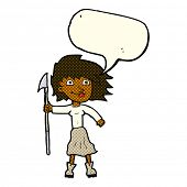 picture of spears  - cartoon woman with spear with speech bubble - JPG