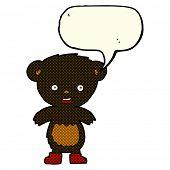 stock photo of bear-cub  - cartoon black bear cub with speech bubble - JPG