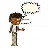picture of smoker  - cartoon smoker with speech bubble - JPG