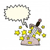 pic of arthurian  - cartoon magical sword in stone with speech bubble - JPG