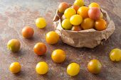 stock photo of plum tomato  - a bag of fresh picked ripe organic colorful mini tomatoes on textured stone background - JPG