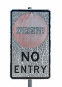 stock photo of no entry  - old no entry traffic sign with paint craquelure on white background - JPG