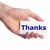 stock photo of thank you card  - thank you or thanks concept with hand word and paper - JPG