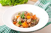 foto of stew  - Stew chicken with vegetables and mushrooms in a cream sauce - JPG