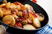 image of lenten  - Baked potato with vegetables in a frying pan - JPG