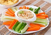 image of pita  - Healthy homemade hummus with vegetables - JPG