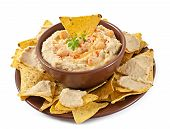 picture of pita  - Healthy homemade hummus with olive oil and pita chips isolated on white background - JPG