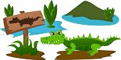 picture of swamps  - Cartoon crocodile in the swamp with warning sign - JPG