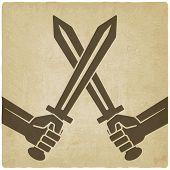 picture of crossed swords  - crossed swords old background - JPG