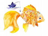 stock photo of goldfish  - goldfish swims in the sea with the fisherman - JPG