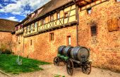picture of guinness  - Cart with wine barrels in Riquewihr  - JPG