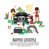 stock photo of rapper  - Rap music concept with rapper lifestyle accessories flat icons set vector illustration - JPG