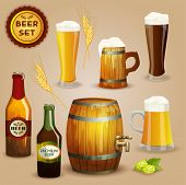 stock photo of beer mug  - Premium beer foam head glasses and  wooden mug and barrel icons composition advertisement poster abstract vector illustration - JPG