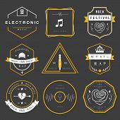 pic of rap  - Vector badges rock music rap classical and electronic music - JPG