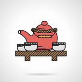 stock photo of teapot  - Flat color style vector icon for tea set with red teapot and three gray cups on wooden table on white background - JPG