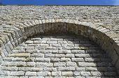 stock photo of fortified wall  - View of limestone fortress wall in Tallinn Estonia - JPG