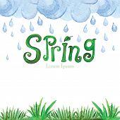 foto of rain cloud  - Words Spring with Watercolor rain cloud - JPG