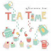 stock photo of tea party  - Tea time afternoon tea doodle illustration pastel color vector on white background teapot tea cup tea bag cake - JPG