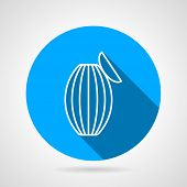 image of resuscitation  - Flat round blue vector icon with white contour  resuscitation bag on gray background - JPG