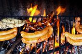 image of grilled sausage  - some different type of grilled meats and sausage - JPG